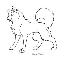 Wolf Line Art 3 by xTaboo