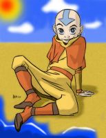 Aang at the beach by Heraldlaze