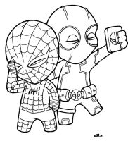 Little Deadpool and Little Spiderman by josh308