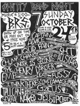 Shitty Band Night 7 flyer by strainedeyegraphics