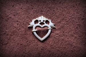 Silver Heart Brooch with Love Birds by MatthiasBlack