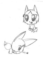 Poochyena and Eevee by TapinAnts