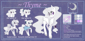 Thyme: ref. sheet + bio by xxStrawberry