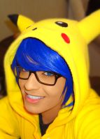 Pika!!! blue hair by geekyemoKun