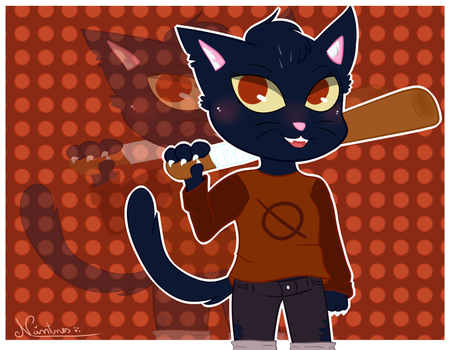 ~Mae/ Night in the woods by Nini-the-kitty