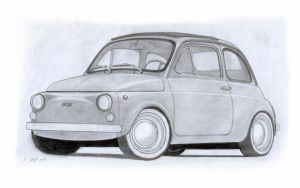 Fiat 500 R (110) Drawing by Vertualissimo