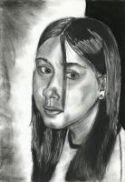 self-portrait in charcoal by piratewench831