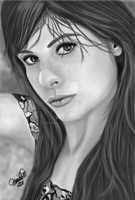 Portrait of Lore in  Grayscale by MariColl