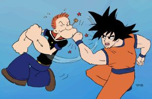 Popeye vs. Goku by rocketdave