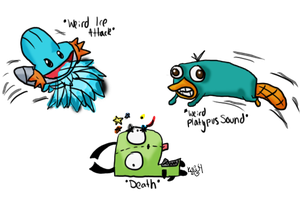 Mudkip, Perry, and Gir Fight by Kulu4