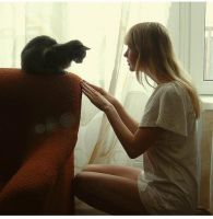 She and cat by Beauty4ever