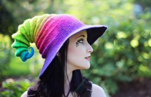 Neon Rainbow Wizard/Witch Hat by HandiCraftKate
