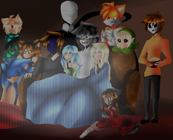 movie night with the creepypasta's and people. by janethewolf12