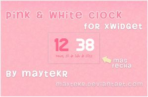 Pink and White Clock for XWidget by MayteKr