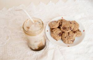 Iced coffee and homemade cookies by Pumpkin-Candy