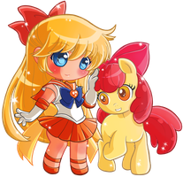 Commission:: Sailor Venus and AppleBloom by Hadibou