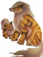 Realistic Arcanine  Growlithe by Maquenda