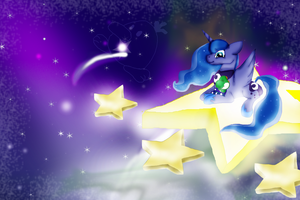 Luna and Baby Yoshi on the stepping stars by Yoshi123pegasister
