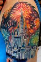 Disney Castle and Fireworks by Sean Ambrose by seanspoison