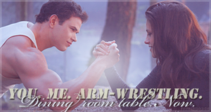 You. Me. Arm-Wrestling. Now - Bella and Emmett by franzi303
