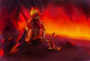 Magmar Vs Pikachu by MethylKy06