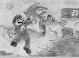 Sonic vs Mario by Spitfire5892