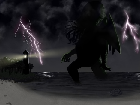 Cthulhu on the beach by aGrimVale