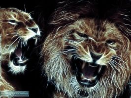 Fractalius: Lion and lioness by rodrigopessanha