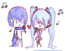 Miku and Kaito by TheMadHattersMistres