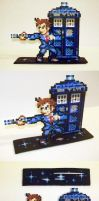 Perler Bead 10th Doctor and Tardis with Stand by NerdyNoodleLabs