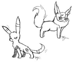 Umbreon and Flareon Sketches by Bluebird9209