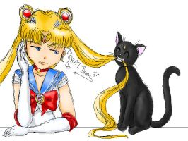 Sailor Moon and Luna by Kythana