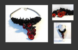 Cherry leather necklace by julishland