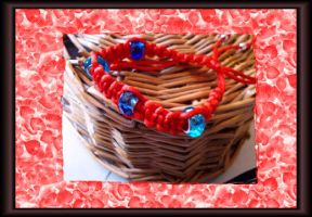 red and blue bracelet by Rini-Dragoone