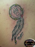 dream catcher feathers by theothertattooguy