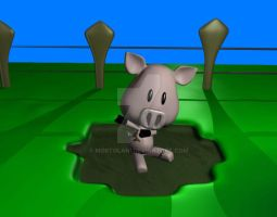 Porco 3d na lama - Pig 3d mud by mortolani