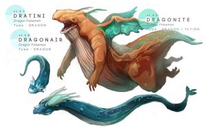 Dratini - Dragonair - Dragonite by MrRedButcher