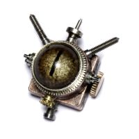 steampunk Reptile eye pin by CatherinetteRings