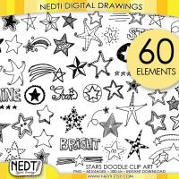 Stars Doodle Hand Drawn Clipart Set by Nedti by Nedti