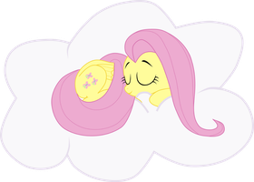 Fluttershy Sleeping in a Cloud by Sazlo