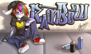 Rainbow graffitti by Mari-Limmy