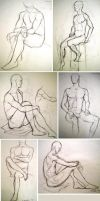 Figure Drawing - Sitting I by Fallingfreely