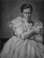 Danish girl painting with charcoal by can727