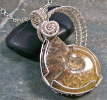Reversible Ammonite Fossil Wire-Wrapped Pendant by HeatherJordanJewelry