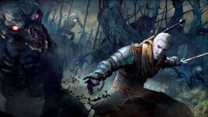 Witcher 3 Wild_Hunt Geralt fighting foglings by Scratcherpen