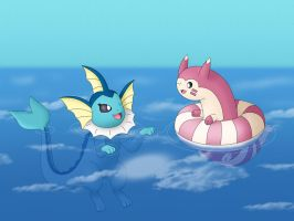 Vaporeon and Furret
