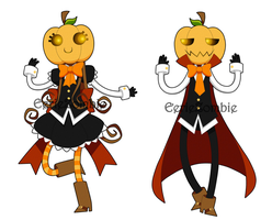 Pumpqueen and Pumpking by EerieZombie