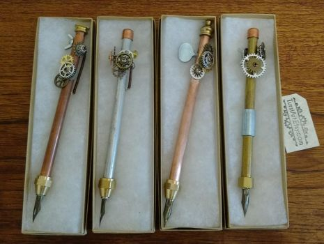 Steampunk Dip Pens for SDCC Art Show by tursiart