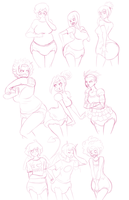 Padded Paradise - OCs Sketch page by Axel-Rosered