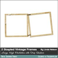 2 Vintage Paper Photos Frames stapled together by pixelberrypie